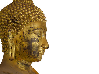 Isolated Golden Buddha Head with gold leaf