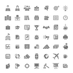 Flat monochrome silhouette business and finance vector icons