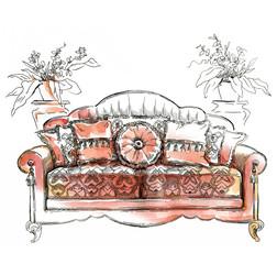 Hand made vecor sketch of cozy interior elements.