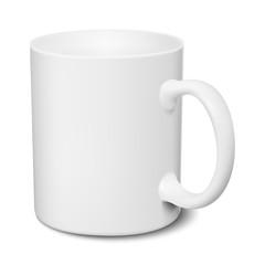 White mug realistic 3D mockup on a white background vector illustration