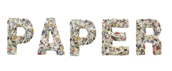 the word NEWSPAPER made from newspaper