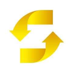 Yellow Arrows up down on a white background design element