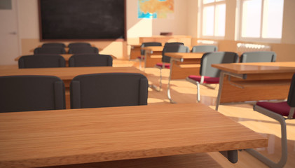 The interior of classroom (3D rendering)