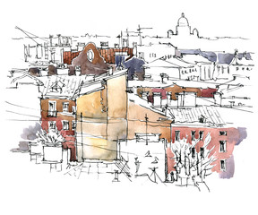Hand made sketch of old street.