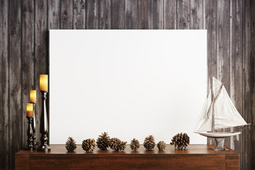 Mock up poster with candles and a rustic wood background, Photo realistic 3d illustration.