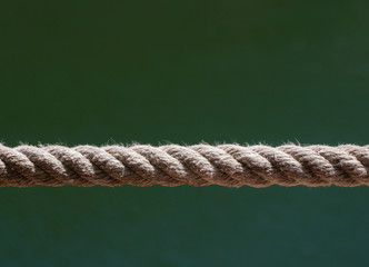 Close up of a rope. Synthetic rope isolated