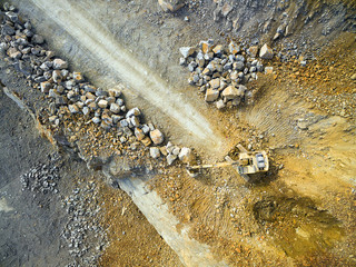Aerial view of a excavator in the mine.  Industrial background from landscape after mining.