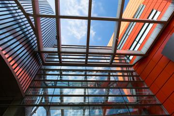 Exterior. siding. metal plates. double-glazed windows.