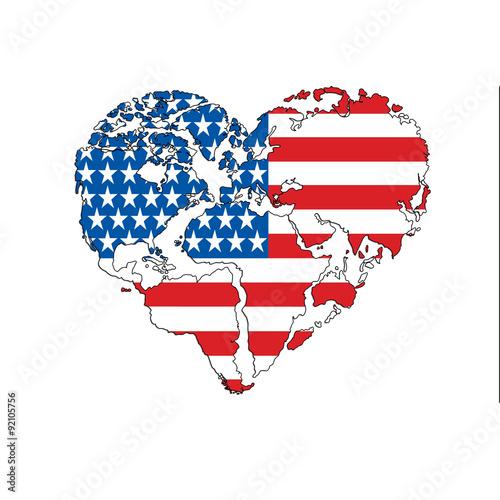 Hand Drawn Logo Background Heart Shaped World Map Usa Flag