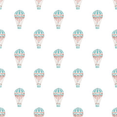 Seamless pattern with hot air-baloons. Hand-drawn background