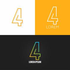Fototapeta Number four 4 logo design icon set background obraz