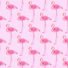 Seamless pattern with flamingos. Hand-drawn background. Vector