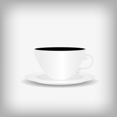 Vector : Cup of coffee on gray background