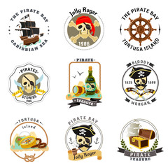 Pirate emblems stickers set