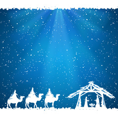 Christmas theme on blue background