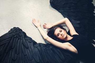 Sensuality Woman Black Angel Relaxing