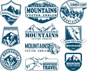 Vector mountain logo emblem set with type design
