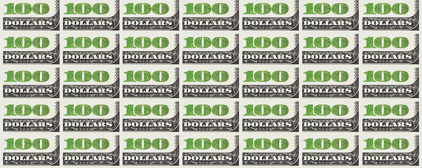 A hundred dollars bill background. 100 dollars.