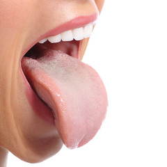 Close up of a woman mouth sticking tongue