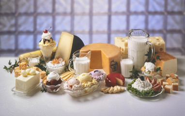 A variety of dairy products