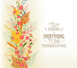 Happy Thanksgiving. Autumn background with leaves