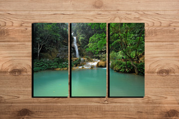 waterfall photo collage frame on wooden background
