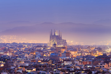 Wall Murals Barcelona Twilight top of view Barcelona