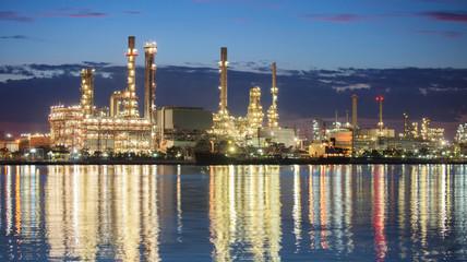panorama petrochemical industry night scene