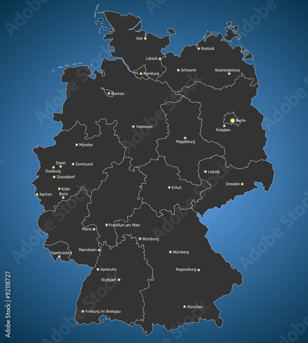 Highly Detailed Germany Map Main Cities Stock Image And Royalty - Germany map main cities