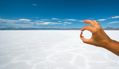 Optical effect in a desert salt flats