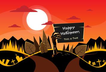 Zombie Hand Hold Board, Orange Autumn Woods, Halloween Dead Arms