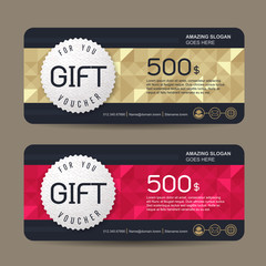 Gift voucher template with premium pattern,cute gift voucher certificate coupon design template, Collection gift certificate business card banner calling card poster,Vector illustration
