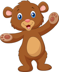 Cartoon happy baby brown bear waving hand