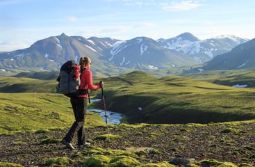 Fotomurales - Female hiker on the Laugavegur trail on Iceland.