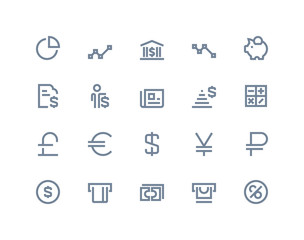 Finance and bank icons. Line series