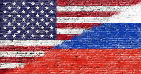United States and Russia - National flags on Brick wall