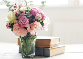 flowers and ancient books