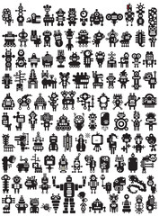 Big set of icons with monsters and robots.