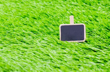 blackboard message clip on green grass, Business and Education c