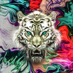 тигр на в джунглях