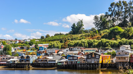 Houses on wooden columns, Chiloe Island, Chile