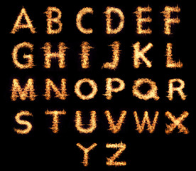English letters Flames