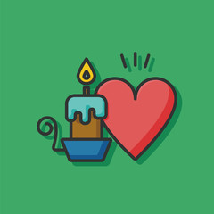 valentine's day candle icon