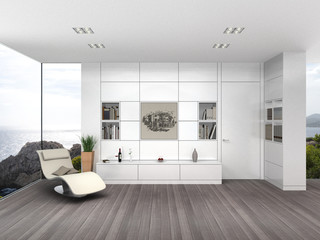 3D interior rendering eines Wohnzimmers mit Meerblick