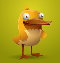 Vector funny yellow bird. Image of a funny cute yellow bird on a yellow-green background.