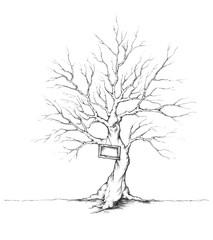 Baum für Hochzeitsgäste mit Schild am Stamm