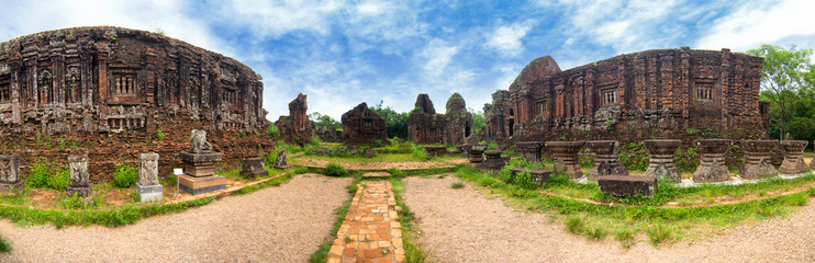 Remains of Hindu tower-temples at My Son Sanctuary, a UNESCO World Heritage site in Vietnam.