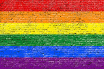 Lgbt flag on Brick wall