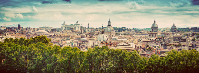 Panorama of the ancient city of Rome, Italy. Vintage Fotomurales