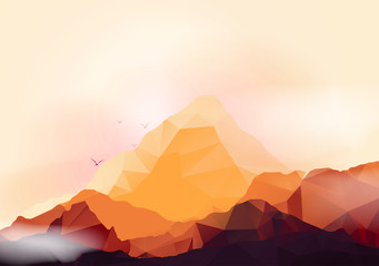 Geometric Mountain and Forest Background - Vector Illustration